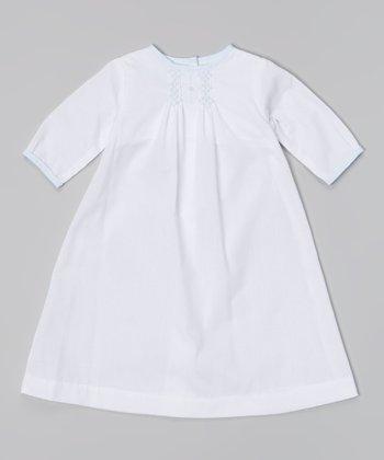 White & Blue Smocked Long-Sleeve Dress - Infant