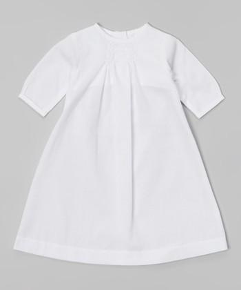 White Smocked Long-Sleeve Dress - Infant