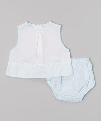 White & Blue Train Top & Diaper Cover - Infant