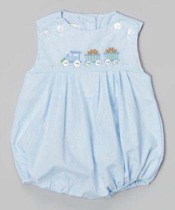 Blue Train Bubble Bodysuit - Infant