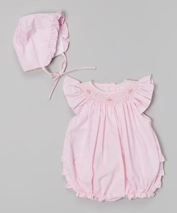 Pink Angel-Sleeve Bubble Bodysuit & Hat - Infant