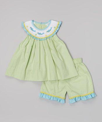 Green Whale Smocked Yoke Top & Shorts - Infant