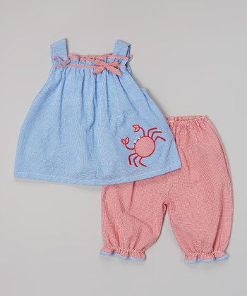 Blue & Red Check Crab Top & Pants - Toddler