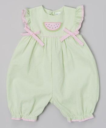Green Watermelon Ruffle Romper - Infant