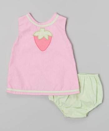 Pink Strawberry Swing Top & Diaper Cover - Infant
