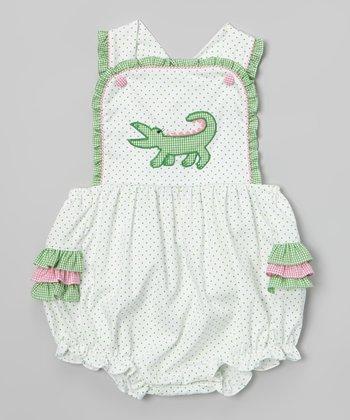 Green Polka Dot Alligator Bubble Bodysuit - Infant