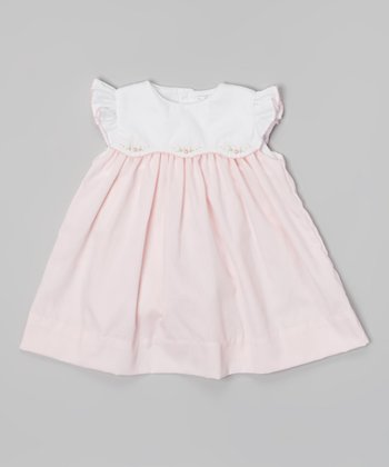 Pink & White Floral Angel-Sleeve Dress & Bloomers - Infant