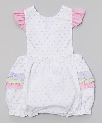 White & Pink Polka Dot Ruffle Bubble Bodysuit - Infant