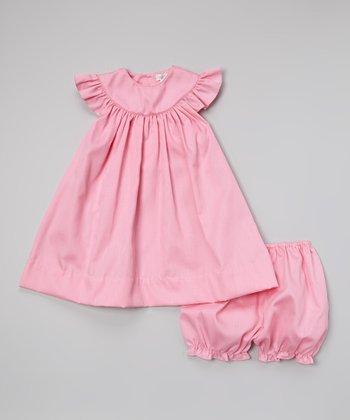 Pink Seersucker Yoke Dress & Bloomers - Infant