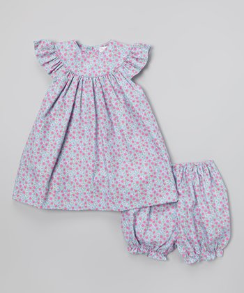 Blue Floral Yoke Dress & Bloomers - Infant