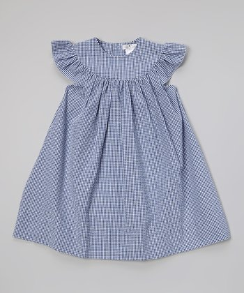 Navy Check Yoke Dress - Toddler