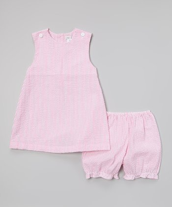 Pink Seersucker Jumper & Bloomers - Infant