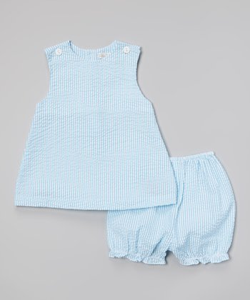 Blue Plaid Seersucker Jumper & Bloomers - Infant