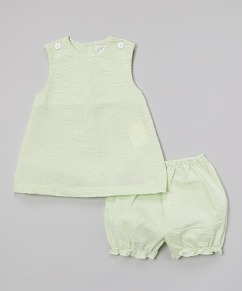 Lime Seersucker Jumper & Bloomers - Infant