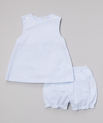 Blue Seersucker Jumper & Bloomers - Infant