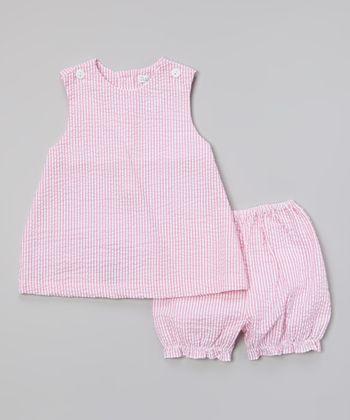 Hot Pink Seersucker Jumper & Bloomers - Infant