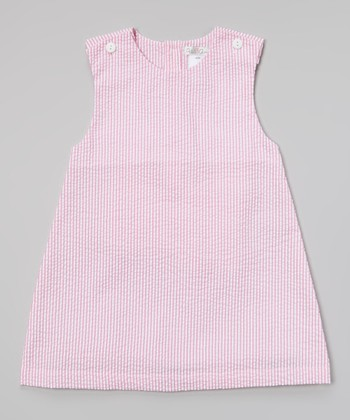 Hot Pink Seersucker Jumper - Toddler