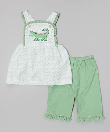 Green Polka Dot Alligator Top & Pants - Toddler