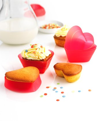 Silicone Heart Cupcake Wrapper - Set of Six