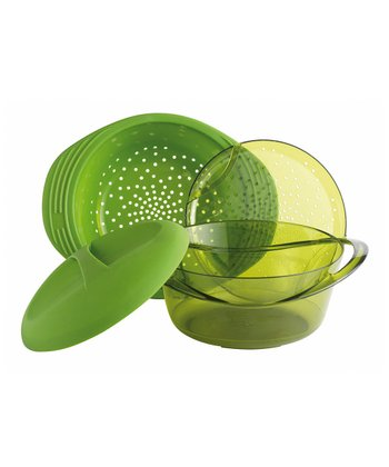 Green Multilevel Silicone Steamer
