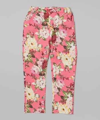 Pink Floral Denim Pants - Girls
