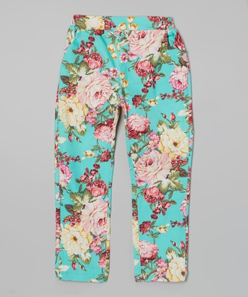 Blue Floral Denim Pants - Girls