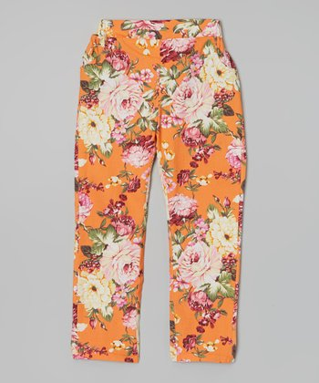 Orange Floral Denim Pants - Girls