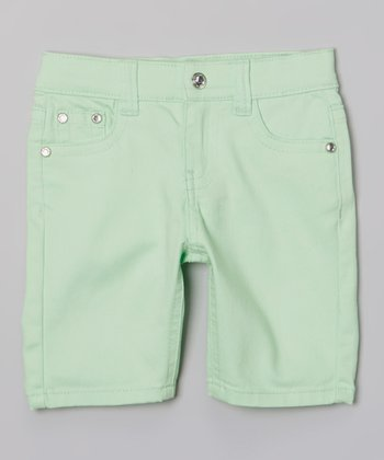 Neon Green Bling Bermuda Shorts