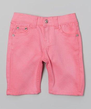 Neon Pink Bling Bermuda Shorts