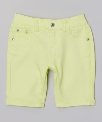 Neon Yellow Bling Bermuda Shorts