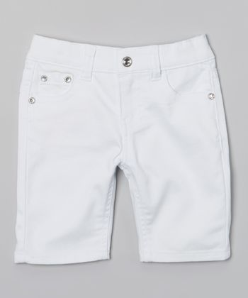 White Bling Bermuda Shorts
