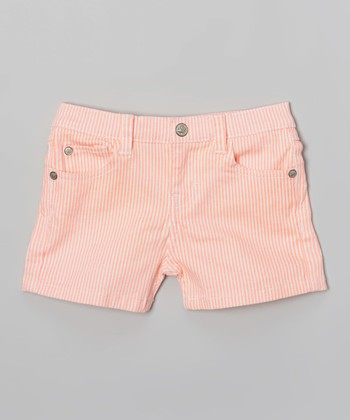 Orange Stripe Denim Shorts