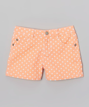 Orange Polka Dot Denim Shorts