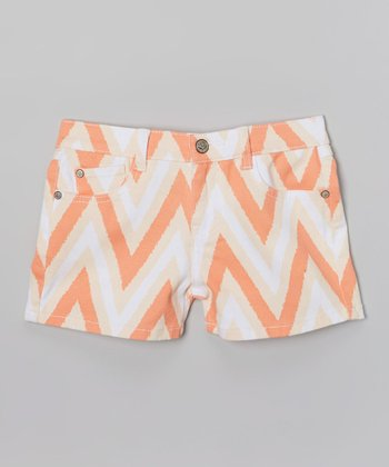 White & Orange Zigzag Denim Shorts