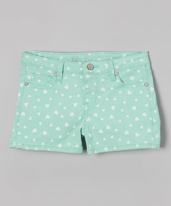 Mint Heart Denim Shorts