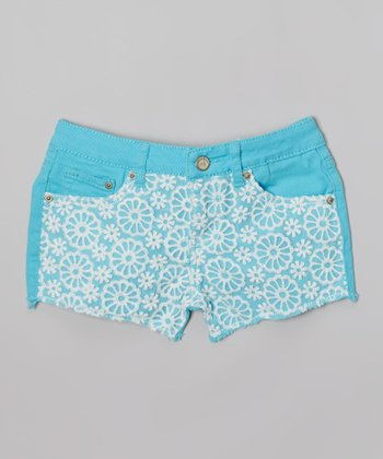Turquoise Lace Denim Shorts