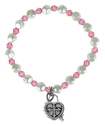 Dark Pink Heart Prayer Box Bracelet