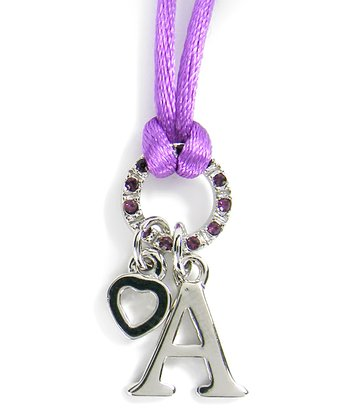 Dark Purple Initial Pendant Necklace