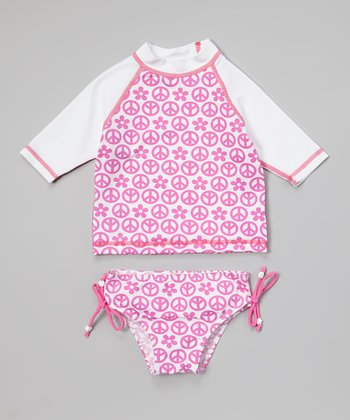White & Pink World Peace Rashguard Set - Infant, Toddler & Girls