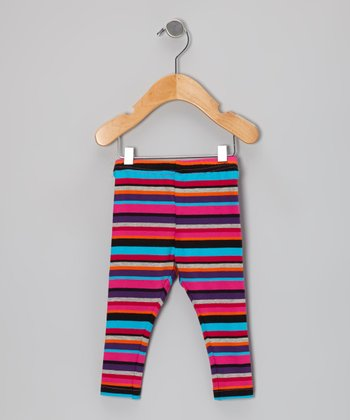 Pink & Black Cerise Stripe Leggings - Infant, Toddler & Girls
