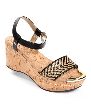 Natural & Black Chanella Wedge Sandal