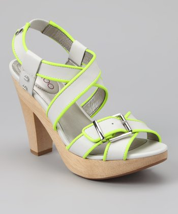 White & Neon Yellow Piping Ebony Sandal