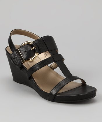 Black Pebbled Pearl Goat Helena Wedge