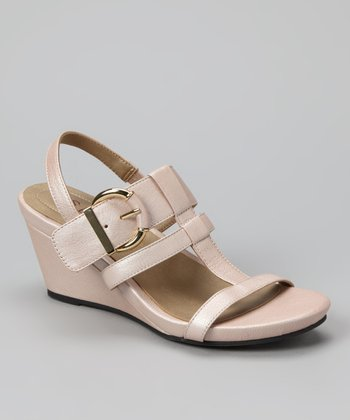 Blush Nude Pebbled Pearl Goat Helena Wedge