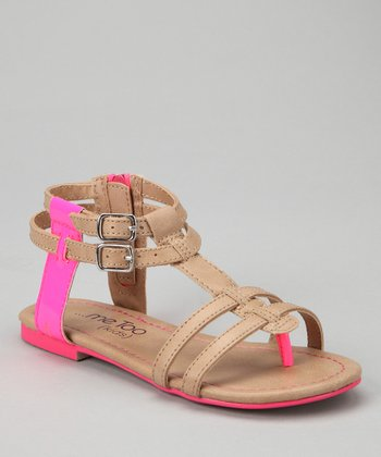 Tan & Hot Pink Teri Gladiator Sandal