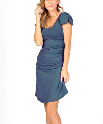 Navy Summer Maternity & Nursing Dress