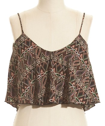 Brown Paisley Geometric Cropped Camisole