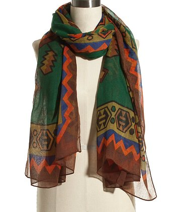 Green & Orange Geometric Scarf