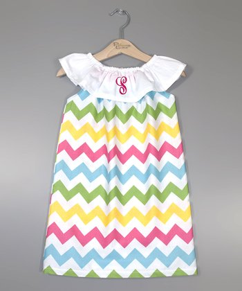 Pink & Green Zigzag Initial Dress - Infant, Toddler & Girls