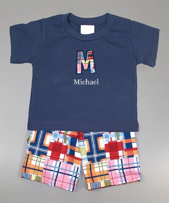 Navy Personalized Tee & Madras Shorts - Infant, Toddler & Boys